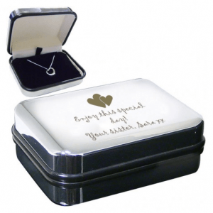 Personalised Wedding Gifts For The Bride: Engraved Heart Motif Necklace Box with Heart Necklace
