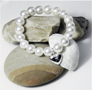 Personalised Wedding Gifts For The Bride: Engraved Stretch Pearl Bracelet