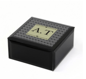 Personalised Keepsake Box:  Black Monogram Keepsake Trinket Box
