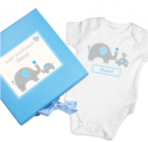 Personalised Keepsake Box: Personalised Blue Elephant Keepsake Box Gift Set