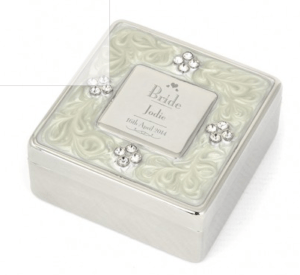 Personalised Wedding Gifts For The Bride: Personalised Decorative Wedding Role Square Diamante TrinkeBox